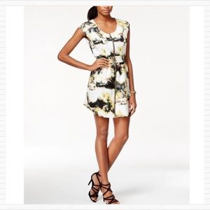 White Watercolor Zippered Mini Dress BAR III